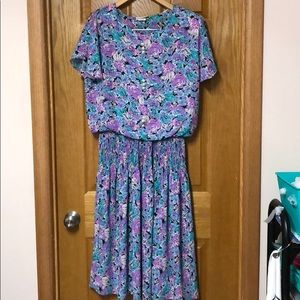 VINTAGE DRESS 1980S DRESS FLORAL DRESS